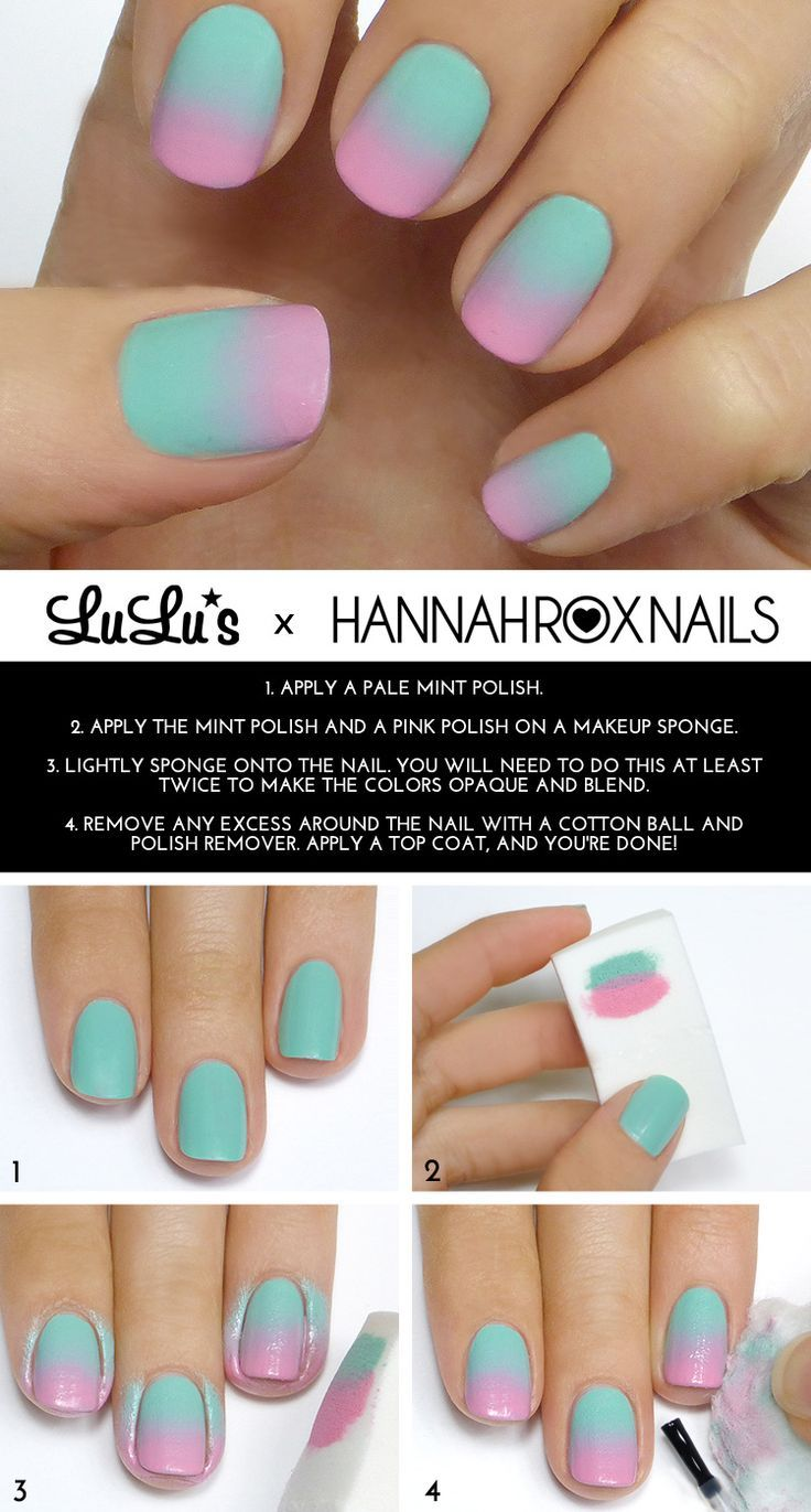 ombre nail art tutorial with sponge